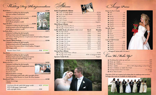 The Graphics Guy - Gallery - Weddings By Dos Kiwis Pricelist Brochure